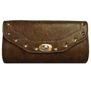 Distressed Brown Tool Bag Studded W/Twist Latch
