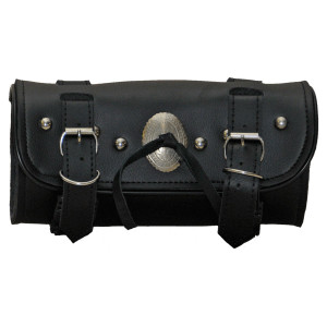 Vance VS109H Black Studded Motorcycle Toolbag Handlebar Bag with Concho Accents