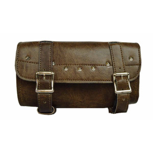 Vance Leather Distressed Brown 2 Strap Studded Tool Bag With Quick Releases