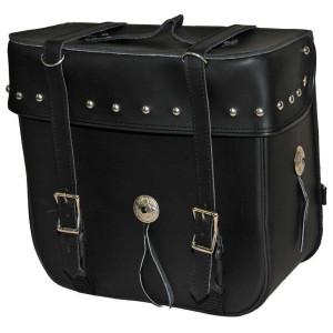 Vance VS316 Black Studded PVC Medium Motorcycle Travel Luggage Sissybar Bag