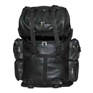 Vance VS321 Black PVC Large Expandable Motorcycle Sissy Bar Bag with Rain Cover