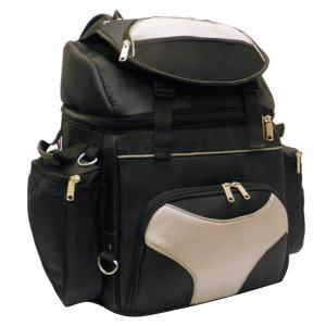 Vance VS345 Grey or Orange Nylon Deluxe Motorcycle Luggage Travel Touring Bag Sissybar Bag - Grey