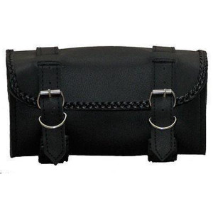 Vance Leather 2 Strap Tool Bag With Braid Accents