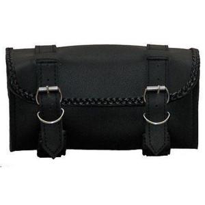 Vance VS118H Black Hard Shell Braided Motorcycle Handlebar Bag Toolbag