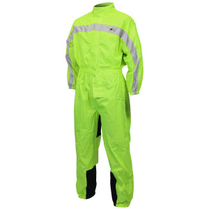 Mens RS5004 High Visibility Neon Green Yellow One Piece Motorcycle Rainsuit Rain Gear
