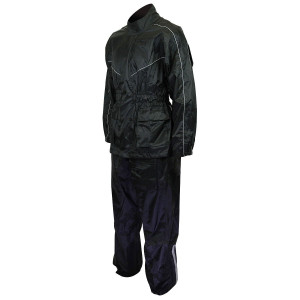 Thunder Under RS5001 Mens and Womens Black Two Piece Rainsuit Motorcycle Rain Gear