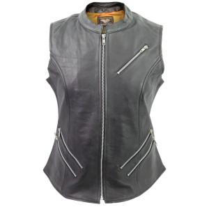 Vance Leather Ladies Premium Top Grain Cowhide Leather Zipper Vest