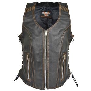 Vance VL1029P Women's Pink Contrast Stitching Lace Side Zipper Pocket Premium Cowhide Lady Biker Leather Vest - Orange
