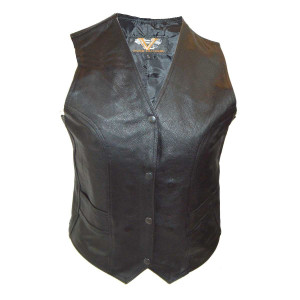 Vance VL1050 Womens Black Lady Biker Leather Motorcycle Vest
