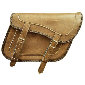 Slanted Distressed Brown Concealed Carry Braided Plain Saddlebags