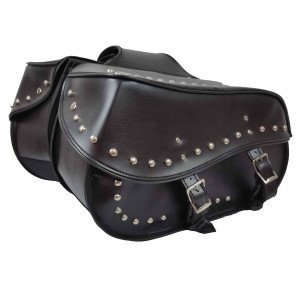 Vance Leather Large 2 Strap PVC Studded Saddle Bag