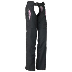 Vance VL1882P Womens Textile Biker Motorcycle Chaps With Pink Embroidered Reflective Wings