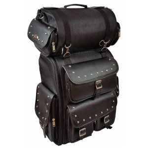 Vance VS1349 Black Studded Large Deluxe Motorcycle Luggage Travel Touring Sissy Bar Bag