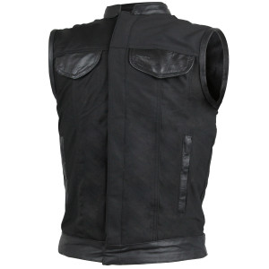 Heavy Duty Textile Club Vest With Leather Accents And Zipper Closure