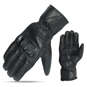 Vance VL469 Mens Black Premium Leather Armored Driving Gloves