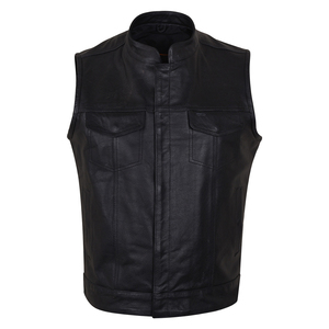 Vance VL914 Men's Black Premium Cowhide Zipper and Snap Closure Concealed Carry SOA Style Leather Biker Motorcycle Vest