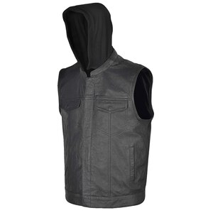 Vance VL914H Mens Black Premium Cowhide Leather Motorcycle Biker SOA Style Club Vest with Hoodie
