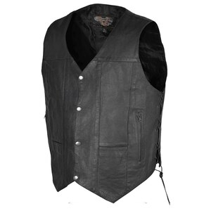 Vance VL915S Men's Black Ten Pocket Leather Vest