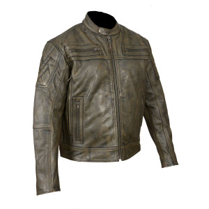 Distressed Brown Padded and Vented Leather Scooter Jacket - side