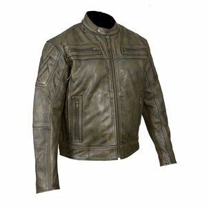 High Mileage HMM542DB Men's Distressed Brown Premium Cowhide Vented and Padded Biker Scooter Jacket