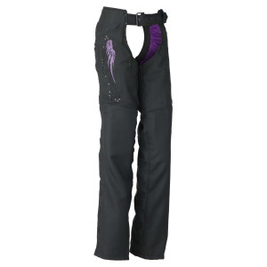 Vance VL1882U Womens Textile Biker Motorcycle Chaps With Purple Embroidered Reflective Wings