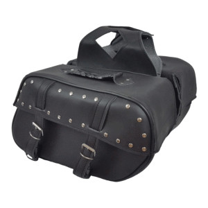 Vance VS222S Black Studded Motorcycle Saddlebags for Honda Yamaha Kawasaki Indian and Harley Davidson Motorcycles