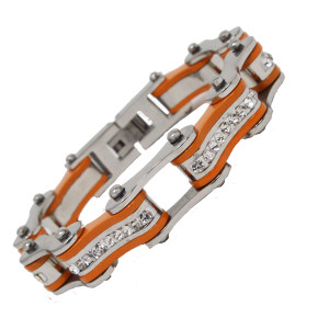 VJ1121 Womens Two Tone Silver and Orange with White Crystal Stainless Steel Lady Biker Bracelet
