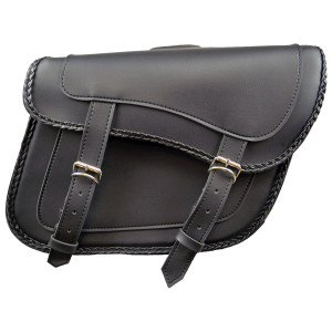Slanted Black Concealed Carry Braided Plain Saddlebags