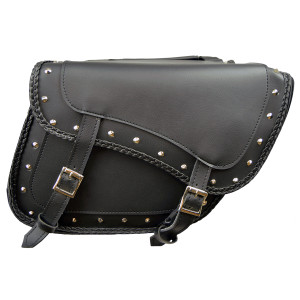 Slanted Black Concealed Carry Braided Studded Saddlebags