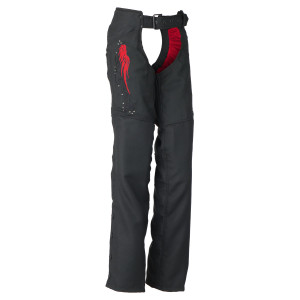 Reflective Red Wings Women's Motorcycle Chaps