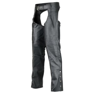 Vance Leather VL812S Mens and Womens Black Deep Pocket Biker Leather Motorcycle Chaps