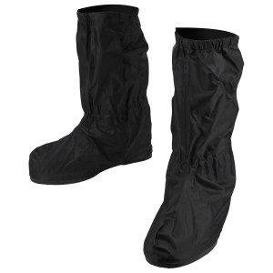 Mens RS002 Black Full Coverage Hard Walking Sole Motorcycle Rain Boot Covers