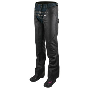 Jafrum LC302 Womens Black Premium Cowhide Low Rise Lady Biker Motorcycle Riding Leather Chaps