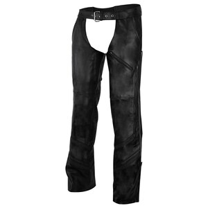 Vance Leather VL803 S Mens Black Reflective and Vented Premium Cowhide Leather Biker Motorcycle Riding Chaps