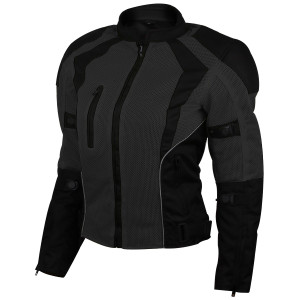Advance Vance VL1673B Womens Black All Weather Season CE Armor Mesh Motorcycle Biker Riding Jacket