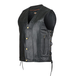 Jean Style Gambler Cowhide Leather Vest