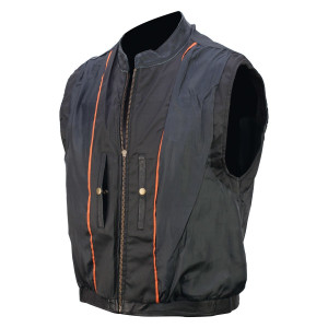Reflective Skull Leather Motorcycle Vest - Inner View