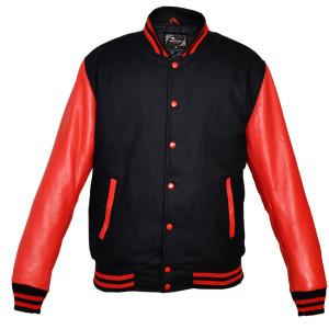 Mens MJ590B Black Wool with Real Leather Premium Varsity Letterman Jacket