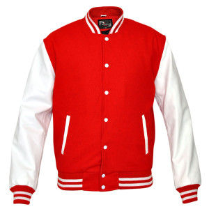 Mens MJ590R Red Wool with Real Leather Premium Varsity Letterman Jacket