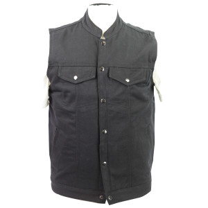 Vance VB920 Mens Black Heavy Duty Concealed Carry Denim Motorcycle Vest