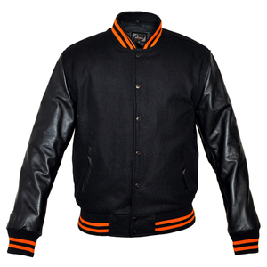 Mens MJ591BO Black Lightweight Wool with Real Leather Premium Varsity Letterman Jacket