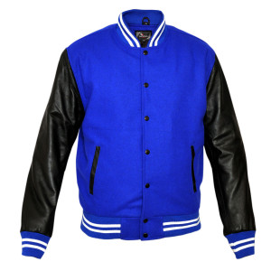 Premium Varsity Collar Lightweight Jacket Wool & Real Leather Sleeves