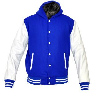 Mens MJ592 Wool with Real Leather Premium Varsity Jacket with Hoodie