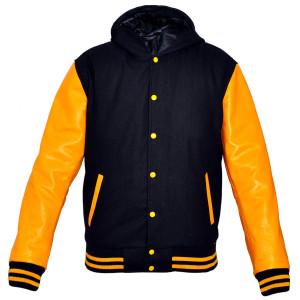 Mens MJ592B Black Wool with Real Leather Premium Varsity Jacket with Hoodie