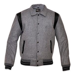 Mens MJ593 Wool with Real Leather Premium Varsity Jacket with Hoodie