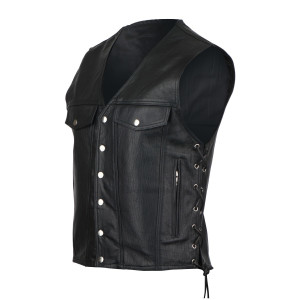Vance VL916 Men's Black Premium Cowhide Leather Jean Style Straight Bottom Biker Motorcycle Vest