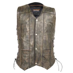 High Mileage HMM915DB Mens Distressed Brown Premium Cowhide Ten Pocket Leather Motorcycle Vest