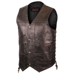 Jafrum MV915 Mens Brown Ten Pocket Cowhide Leather Motorcycle Vest