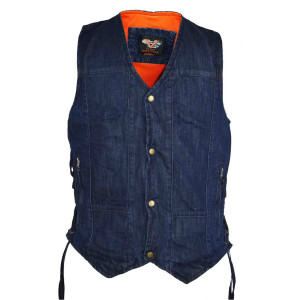 Vance VB915Blue Mens Blue Ten Pocket Denim Motorcycle Vest