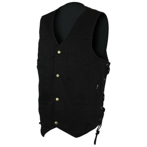 Black Denim Ten Pocket Vest